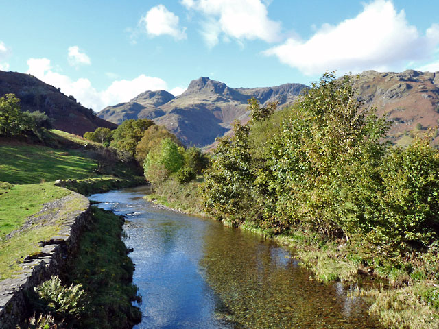 The Langdale Pikes from the bridge over Great Langdale Beck