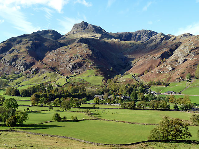 Looking across the valley the Langdale Pikes dominates the scene